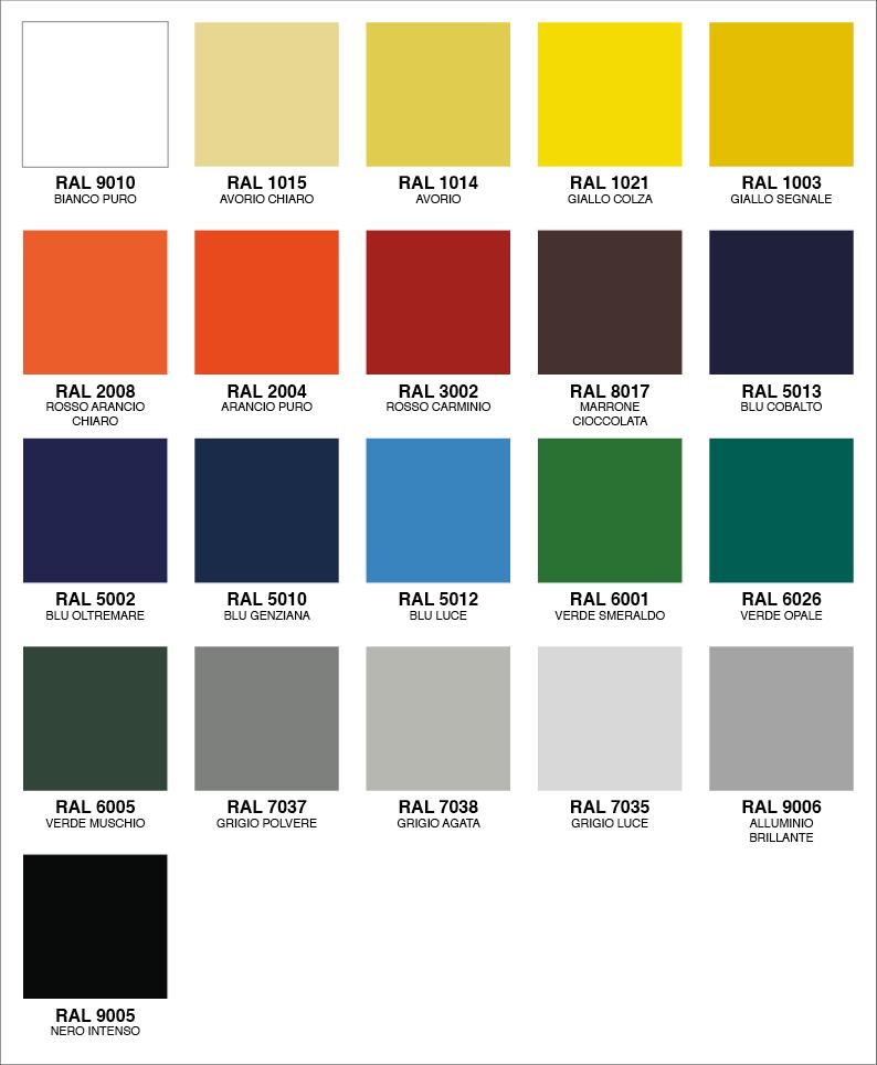 colori disponibili per teli in pvc